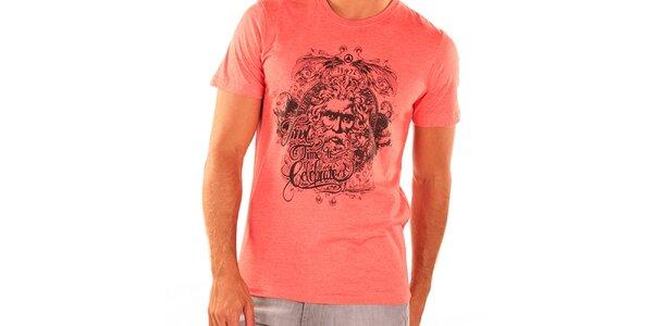 Pánské tmavě lososové tričko s krátkým rukávem New Caro
