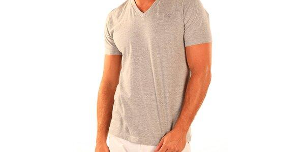 Pánské šedé tričko s véčkovým výstřihem New Caro