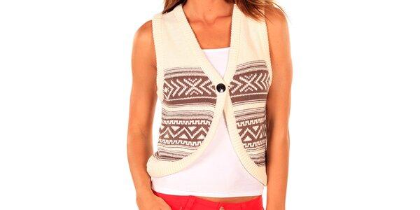 Dámská pletená vesta s hnědým vzorem New Caro