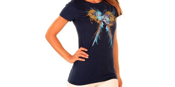 Dámské tmavě modré tričko s potiskem New Caro