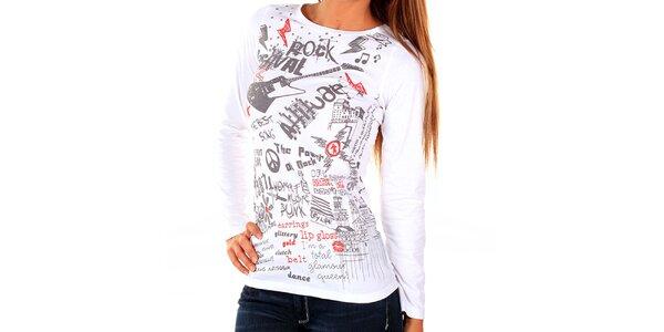 Dámské bílé tričko s potiskem New Caro