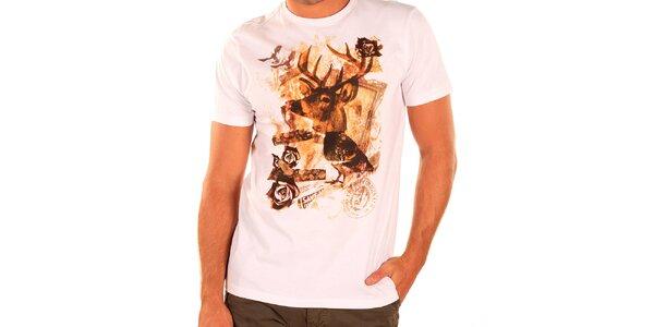 Pánské bílé triko s krátkým rukávem New Caro