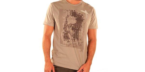 Pánské světle hnědé tričko s krátkým rukávem New Caro