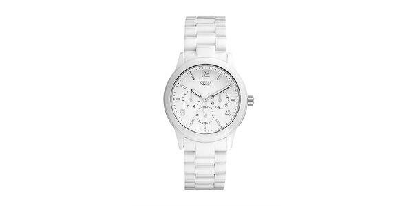 Decentní polykarbonátové bílé hodinky