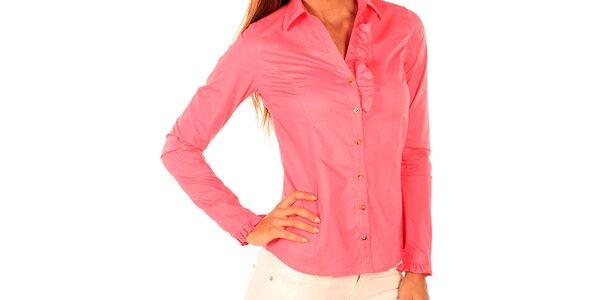 Dámská růžová košile s volánkem New Caro