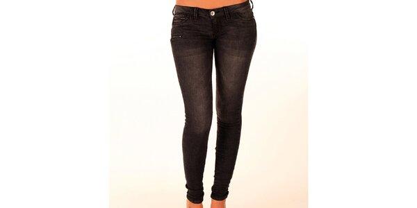 Dámské antracitové džíny se zipy New Caro