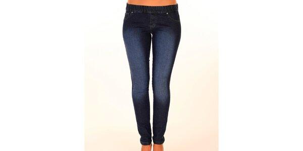 Dámské tmavě modré džíny s elastickým pasem New Caro