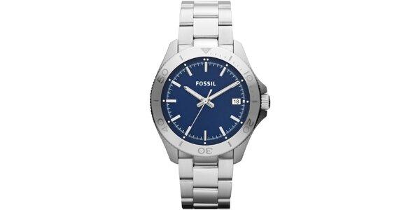 Pánské stříbrné hodinky s modrým ciferníkem Fossil