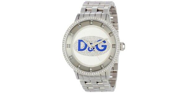 Dámské hodinky s kulatým pouzdrem osázeným zirkony a logem Dolce & Gabbana