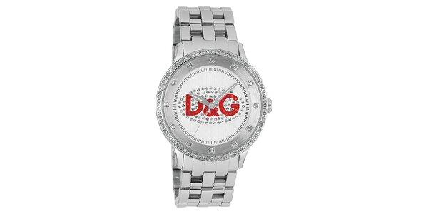 Dámské hodinky z nerezové oceli s červeným logem Dolce & Gabbana