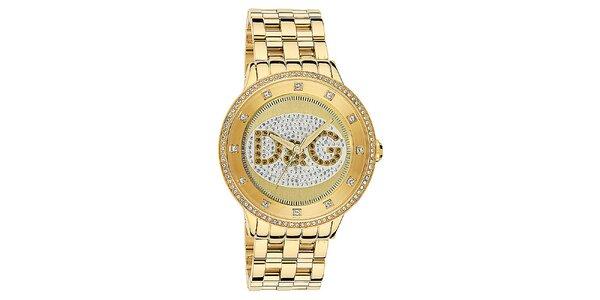 Dámské hodinky s kulatým pouzdrem osázeným zirkony a logem ve zlaté barvě Dolce…