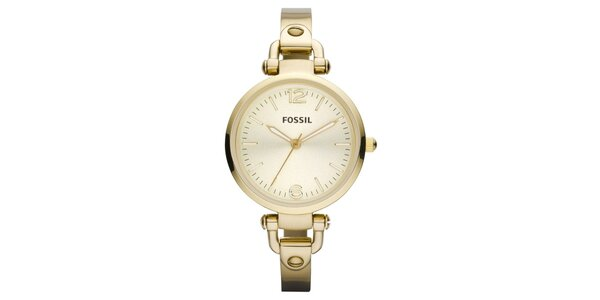 Dámské kulaté pozlacené hodinky Fossil