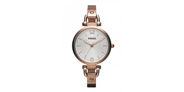 Dámské růžově tónované pozlacené hodinky Fossil