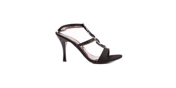 Dámské černé sandálky s růžičkami Spot On