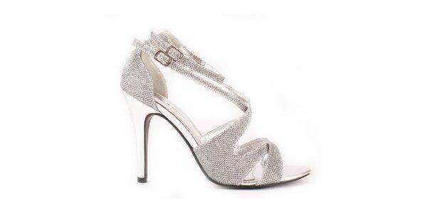 Dámské stříbrné sandálky Spot On