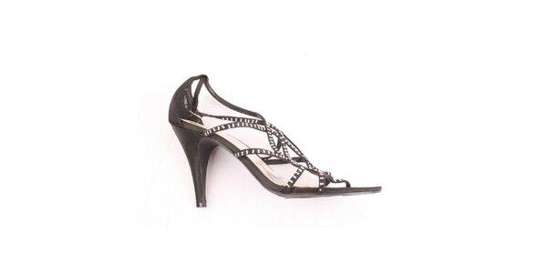 Dámské černé sandálky s kamínky Spot On