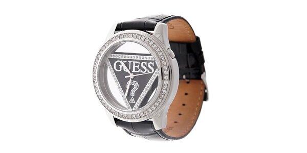 Dámské černé hodinky Guess s koženým páskem a transparentním ciferníkem