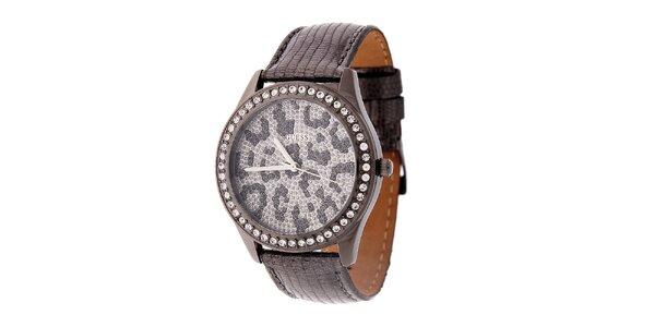 Dámské šedostříbrné hodinky Guess s koženým páskem