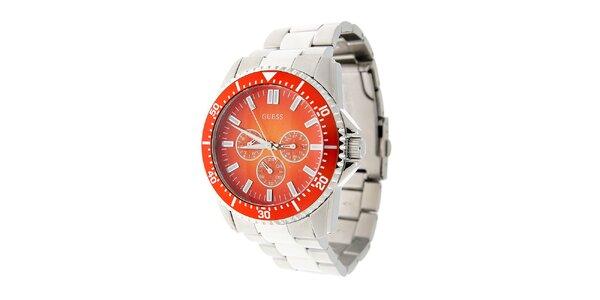 Pánské ocelové hodinky Guess s oranžovým ciferníkem