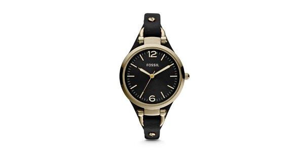 Dámské kulaté pozlacené hodinky Fossil s černým řemínkem