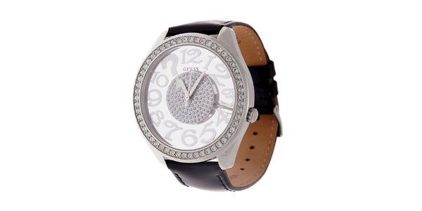Dámské černé hodinky Guess s koženým lakovaným páskem a transparentním…