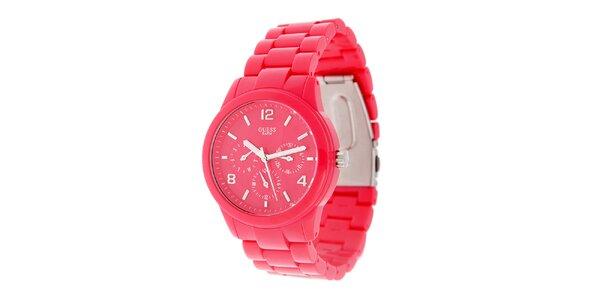 Dámské neonově růžové náramkové hodinky Guess