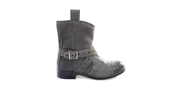 Dámské šedé kožené kovbojské boty Levis