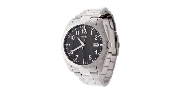 Pánské ocelové náramkové hodinky Guess s černým ciferníkem