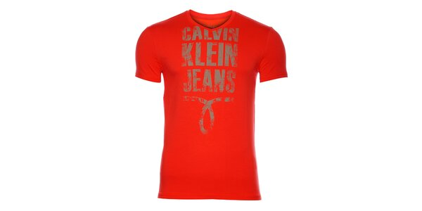 Pánské zářivě červené tričko Calvin Klein s potiskem