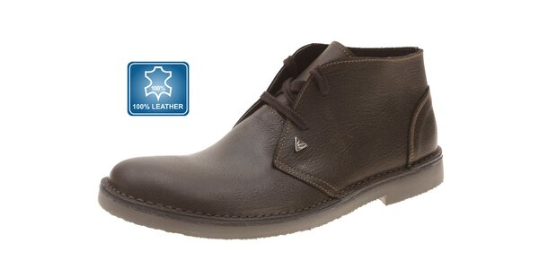 Pánské tmavě hnědé kožené boty Beppi