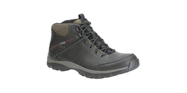 Pánské černé goretexové kožené boty Clarks