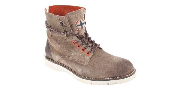 Pánské šedohnědé kotníčkové boty Napapijri