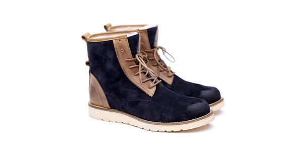 Pánské modro-béžové semišové boty Shoe the Bear