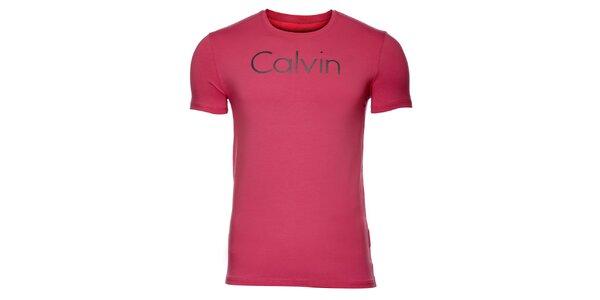 Pánské růžové tričko Calvin Klein s potiskem