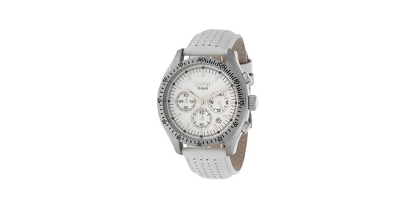 Dámské bílé hodinky Esprit s koženým řemínkem