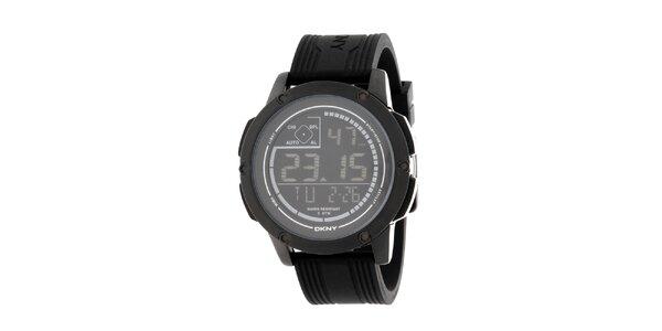 Unisexové černé digitální hodinky s kulatým ciferníkem DKNY