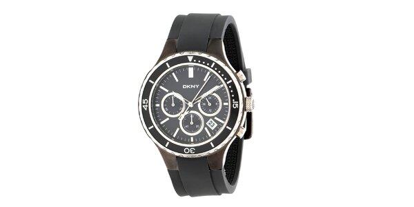 Dámské černé analogové hodinky DKNY s ocelovým pouzdrem a silikonovým řemínkem