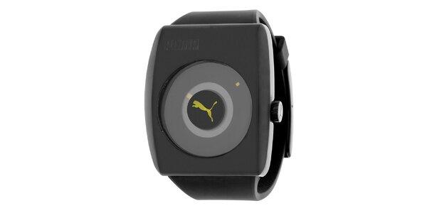 Pánské černé hodinky se žlutým detailem Puma