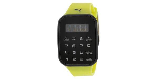 Pánské černé digitální hodinky se žlutým řemínkem Puma