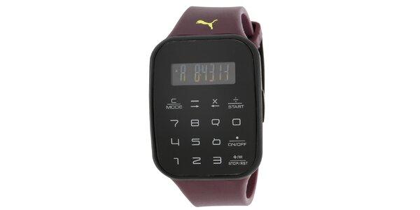 Pánské černé digitální hodinky s vínovým řemínkem Puma