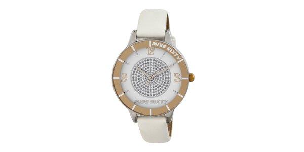Dámské bílozlaté analogové hodinky s kamínky Miss Sixty