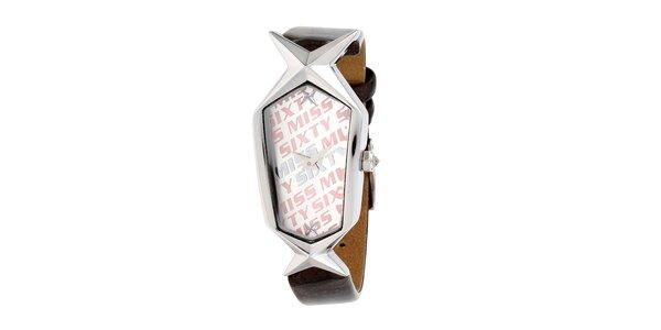 Dámské hodinky s hvězdičkou a tmavým řemínkem Miss Sixty