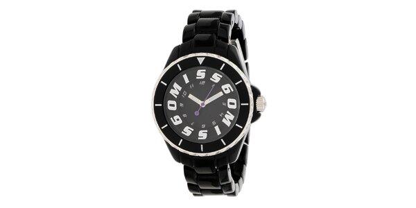 Dámské černé hodinky s fialovou vteřinovkou Miss Sixty