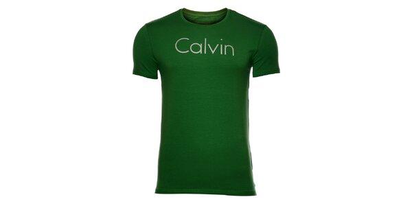 Pánské trávově zelené tričko Calvin Klein s potiskem