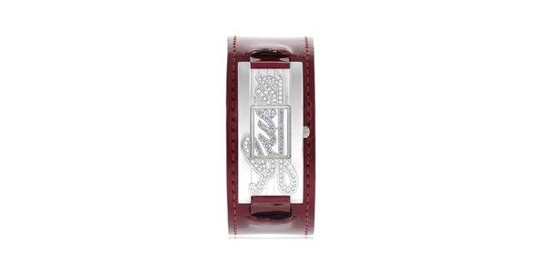 Dámské stříbrné hodinky s vínovým řemínkem Guess