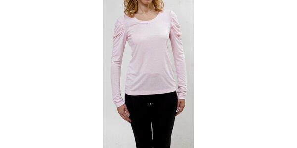 Dámský růžový top s nabíranými rukávy Mera