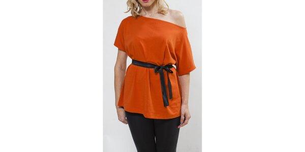 Dámský oranžový top se spadlým ramenem Mera