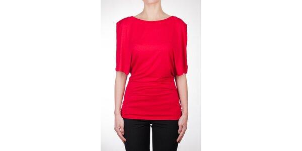 Dámský červený top s asymetrickými rukávy Mera