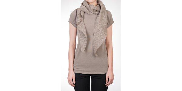 Dámské béžové tričko s vlněnou šálou Mera