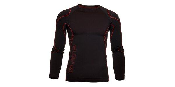 Pánské černé termo tričko Iguana s červenými detaily